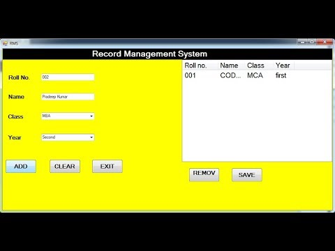 Record Management System Project With Source Code In Vb