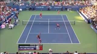 Serena/Venus vs Safarova/Pavlyuchenkova 2013 US Open Highlights