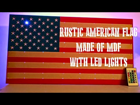Rustic MDF American Flag Wall Decor With LED Lights