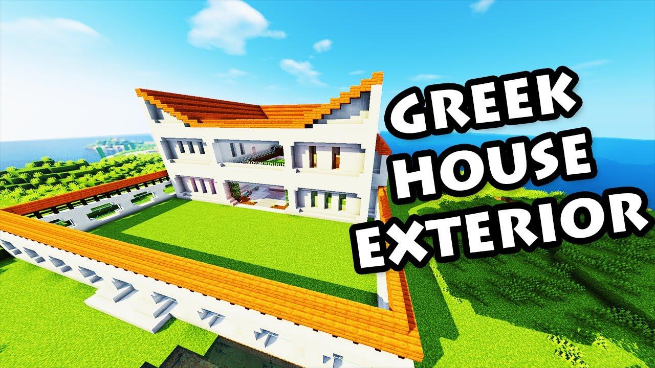 Minecraft greek house exterior tutorial 43 youtube for Modern house exterior minecraft