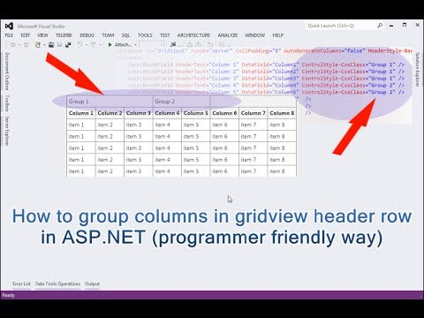 How to group columns in gridview header row in ASP NET (programmer friendly  way)