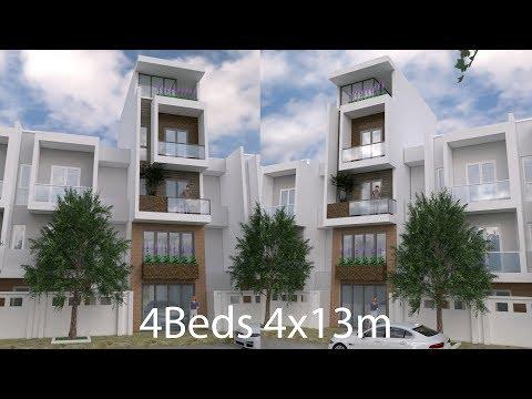 Sketchup Narrow House Design Plan 4 x 13 Meter (Modeling Step)