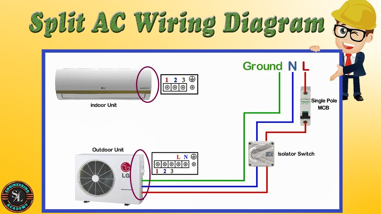 Single Phase Split Type Air Conditioner(AC) Indoor & Outdoor Wiring Diagram/  How to Wire Split AC - YouTube | Hvac Split System Wiring |  | YouTube
