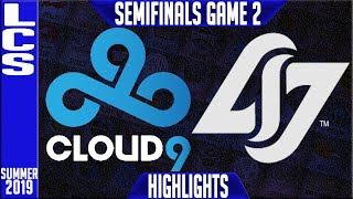 C9 vs CLG Highlights Game 2 | LCS Summer 2019 Playoffs Semi-finals | Cloud9 vs Counter Logic Gaming