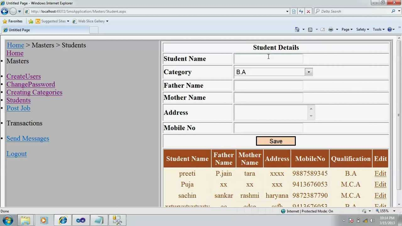 Sms Application In Asp Net With C Final Year Student