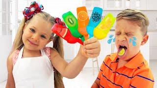 Diana faz sorvete de frutas