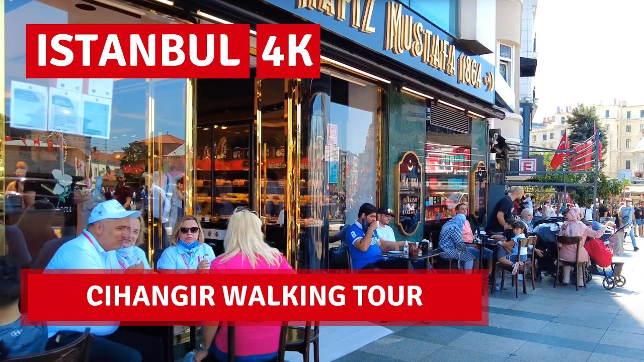 Istanbul Cihangir  Walking Tour In A Popular And Lively Neighborhood 30July 2021 4k UHD 60fps