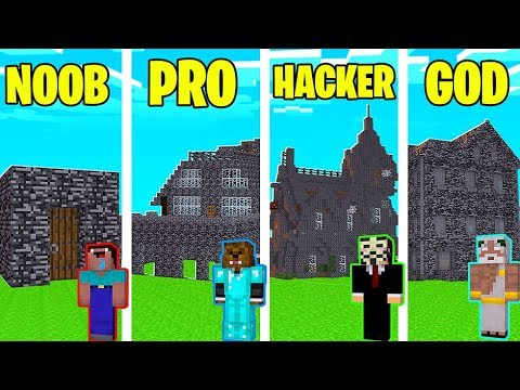 Minecraft Noob Vs Pro Vs Hacker Vs God Modern Bedrock House In Minecraft Jeromeasf Youtube