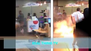 Shocking moment hoverboard violently EXPLODES in a Missouri mall sending shoppers diving for cover