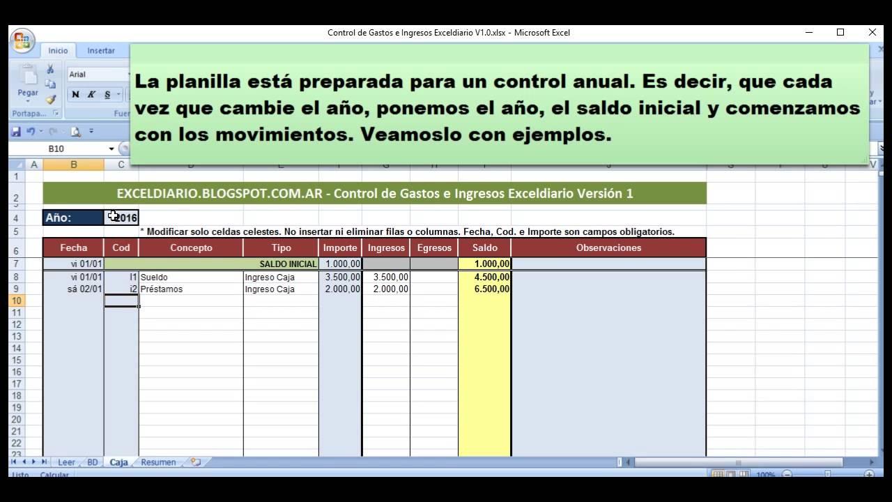 Control de Gastos e Ingresos Exceldiario Versión 1 - YouTube