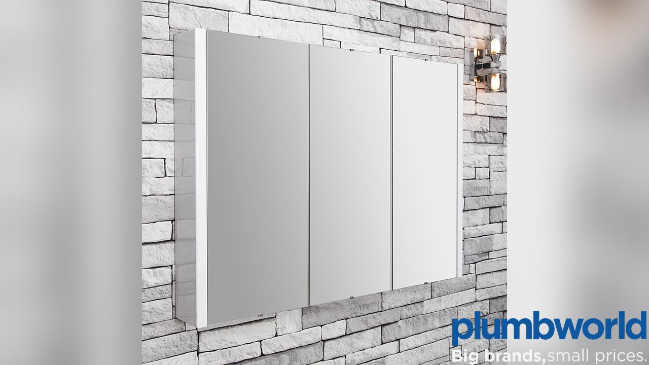 Vasari Turin Mirrored Bathroom Cabinet 900mm - Plumbworld - YouTube
