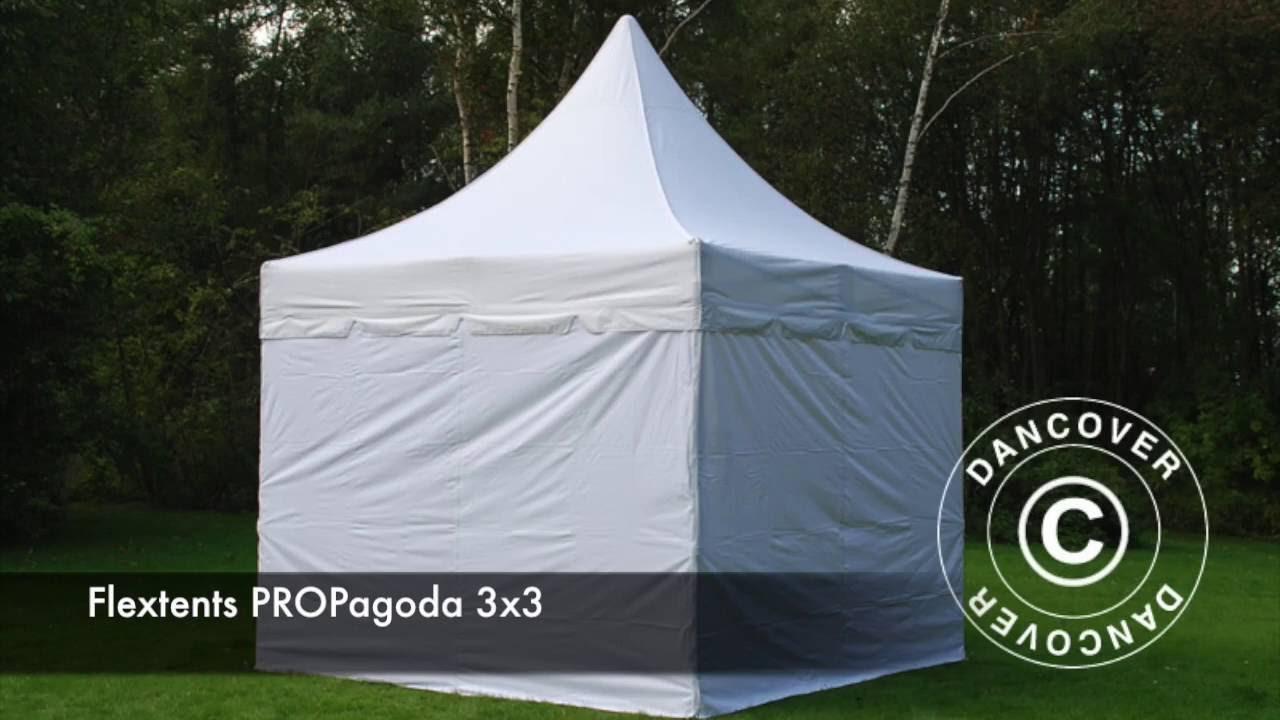 Pop up pagoda gazebo - Pop Up Gazebo Flextents Pro Peak Pagoda 3x3 M White Incl 4 Sidewalls