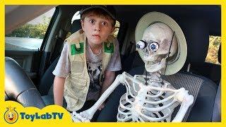 Giant T-Rex Dinosaur vs Funny Skeleton with Halloween Surprise Toys & Dinosaurs for Kids
