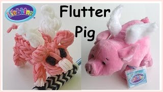 "Rainbow Loom Charms: ""Flutter Pig"" inspired by Ganz (made with Loom bands)"