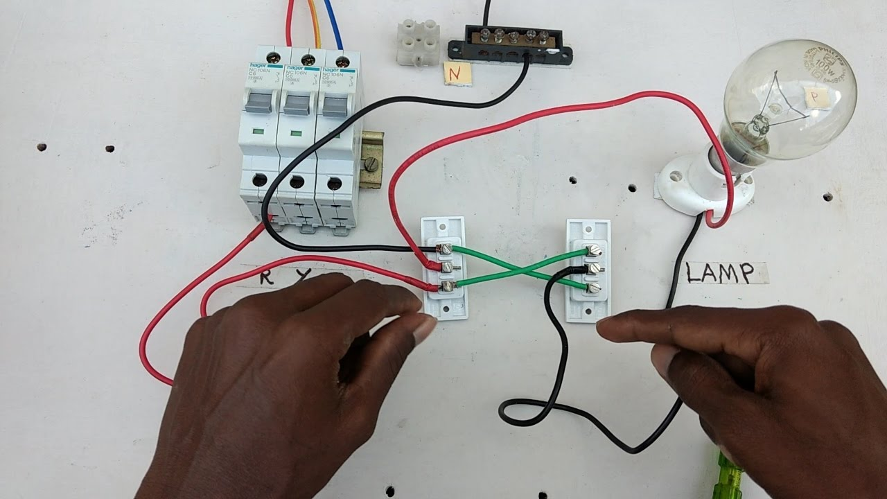 Electrical Wiring Diagram For 2 Way Switch 3 Lights Two Connection Type 4 In Tamil And