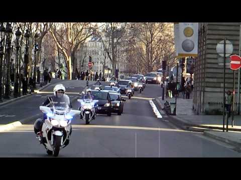 Russian President Dimitry Medvedev in Paris Motorcade with Motorcycle Escort