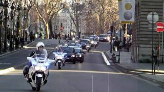 Russian President Dimitry Medvedev in Paris Motorcade with Motorcycle Escort