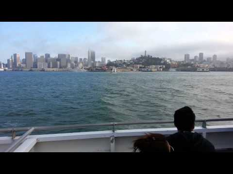 Ferry Ride View. Oakland to San Francisco Pier 39. City Waterfront. Bay Fog.