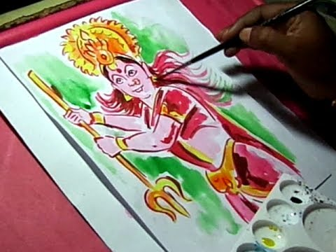How To Draw Adhiparasakthi Amma Vari Drawing With Watercolors Youtube