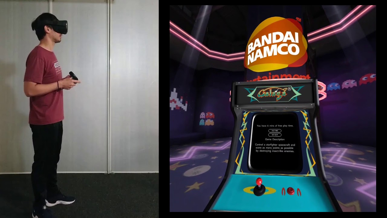 Walking Around Oculus Arcade on QUEST Playing Galaga in Virtual Reality VR  Sideloaded with SideQuest