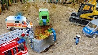 덤프트럭 구출놀이 소방차 중장비 장난감 트럭놀이 Dump Truck Rescue Fire Truck