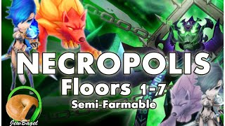 SUMMONERS WAR : Necropolis Dungeon Floors 1-7 with Semi-Farmable Team (first look)