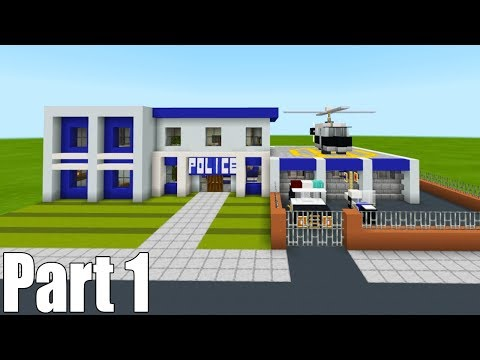 """Minecraft Tutorial: How To Make A Police Station Part 1 """"2019 City Tutorial"""""""