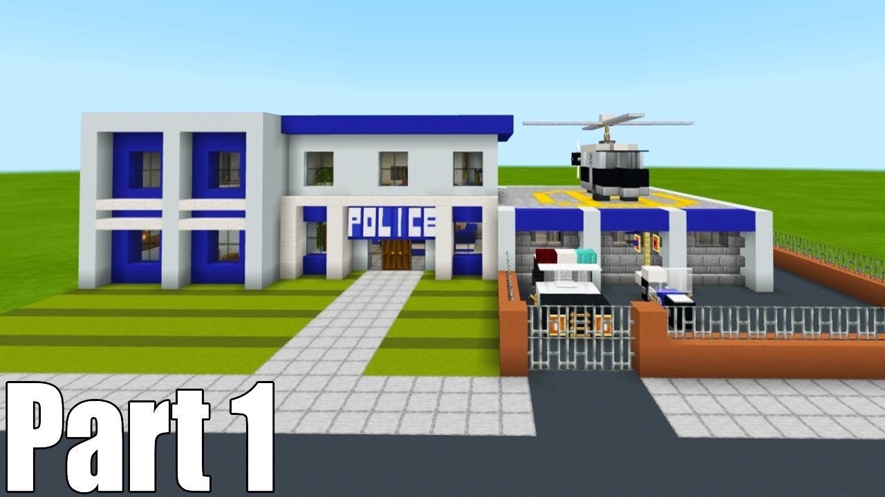 Minecraft Tutorial: How To Make A Police Station Part 1