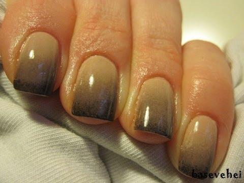 Black Nude Ombre Gradient Nail Tutorial Cieniowane Zdobienie