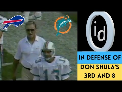 [OC] [Highlight] On 9/10/1989, the Dolphins led the Bills 24-13 with 4:00 left. Miami lost the game, mainly because of a controversial play on 3rd and 8 that many say was Don Shula's worst decision ever. But when you analyze it, the play isn't as bad as you think. This is a defense of Shula's call