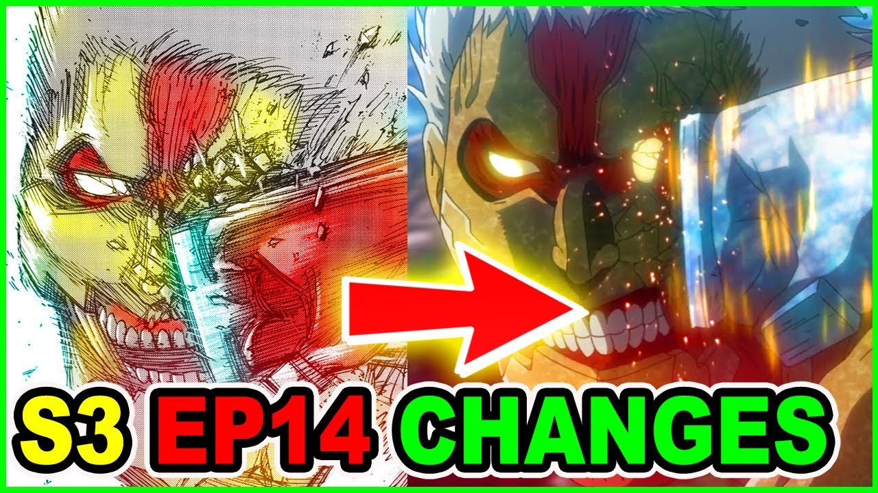 Eren Vs Armor Titan Manga Vs Anime Changes Analysis | Attack on Titan Season 3 Episode 14