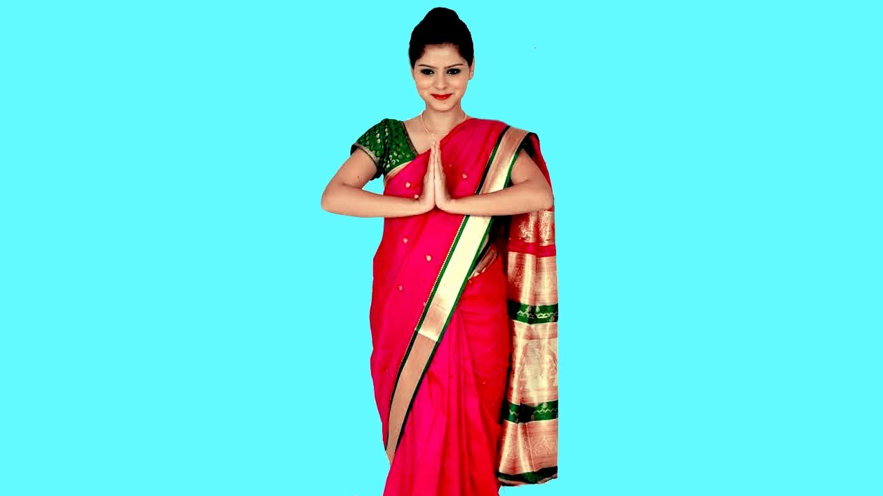 67a09e7a8c64c7 How to wear Saree Airhostess & Corporate method look - YouTube