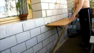 Столик раскладной для балкона своими руками(Делюсь своей оригинальной конструкцией раскладного столика. Столик в законченном виде с подробностями..., 2015-06-24T15:01:36.000Z)