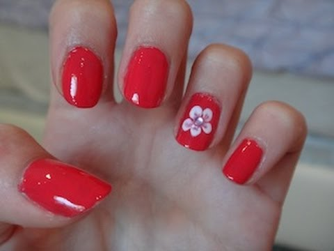 Easy Flower Nail Design! - Easy Flower Nail Design! - YouTube