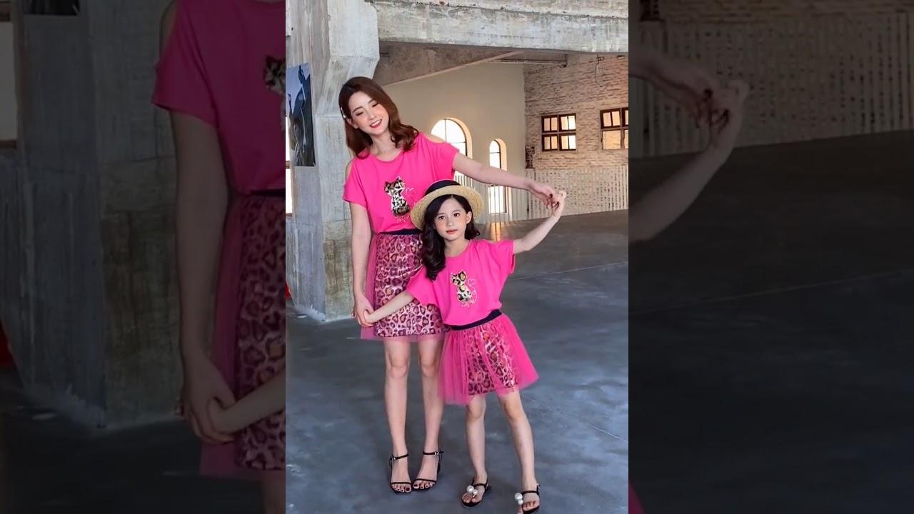 iKIDS♬2020夏季 新款 韓版 女童 中童 大童 小貓咪 露肩 上衣 短裙 豹紋 玫紅 套裝 親子裝(預購) - YouTube