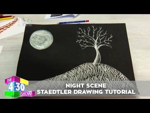 Night Scene Staedtler Drawing Tutorial Youtube