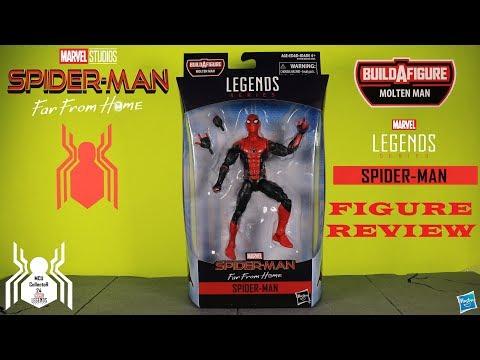Marvel Legends SPIDER-MAN Black & Red Hero Suit Far From Home Molten Man BAF Wave 12 Figure Review