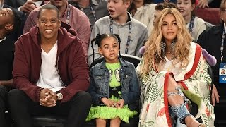 Pregnant Beyonce and Jay Z Sit Courtside at NBA All-Star Game With Blue Ivy!
