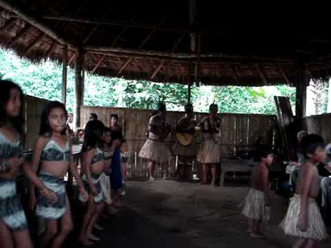 Kichwa indigenous people performing a cultural dance in the ecuadorian jungle