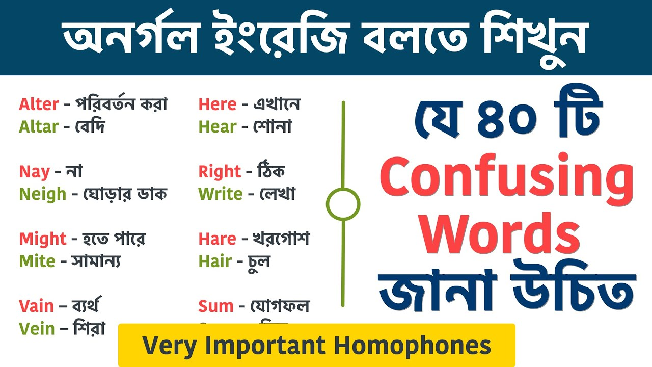 40 confusing English words with Bengali meaning || Very important Homophones in English || Day 29