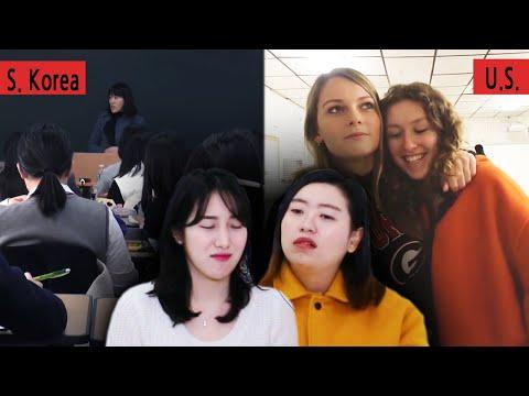 Koreans In Their 30s React To American VS Korean High School Vlogs