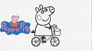 How to Draw peppa pig on a bicycle - Video
