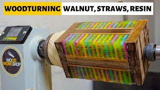 Woodturning Walnut, Straws & Resin