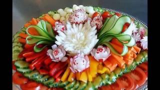 Красивая нарезка колбасы и сыра. Красивая нарезка овощей и  фруктов.