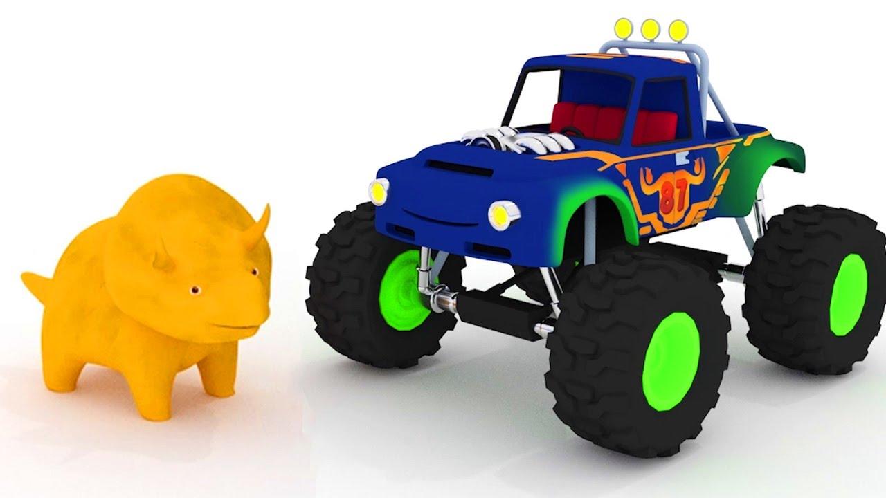 Apprendre Les Formes Avec Dino Le Dinosaure Monster Truck Dessin
