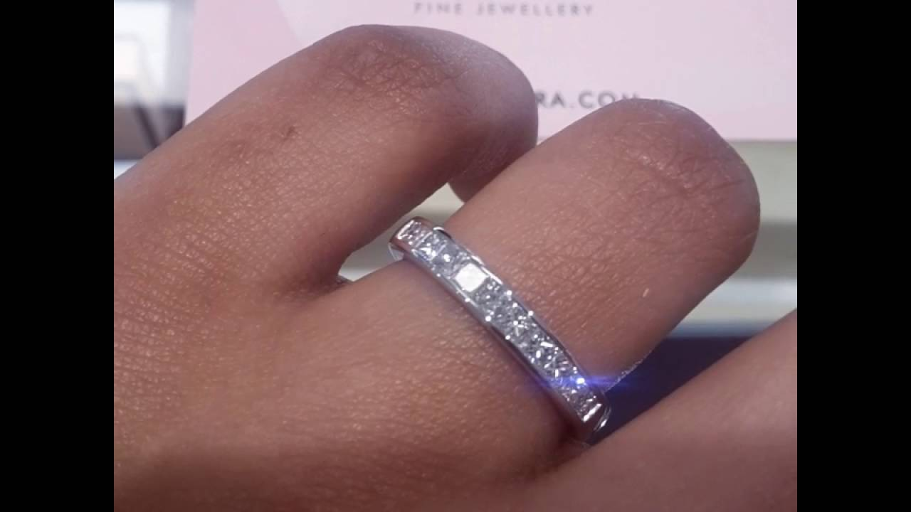 band princess stone five eternity ring in platinum wedding diamond or bands anniversary cut