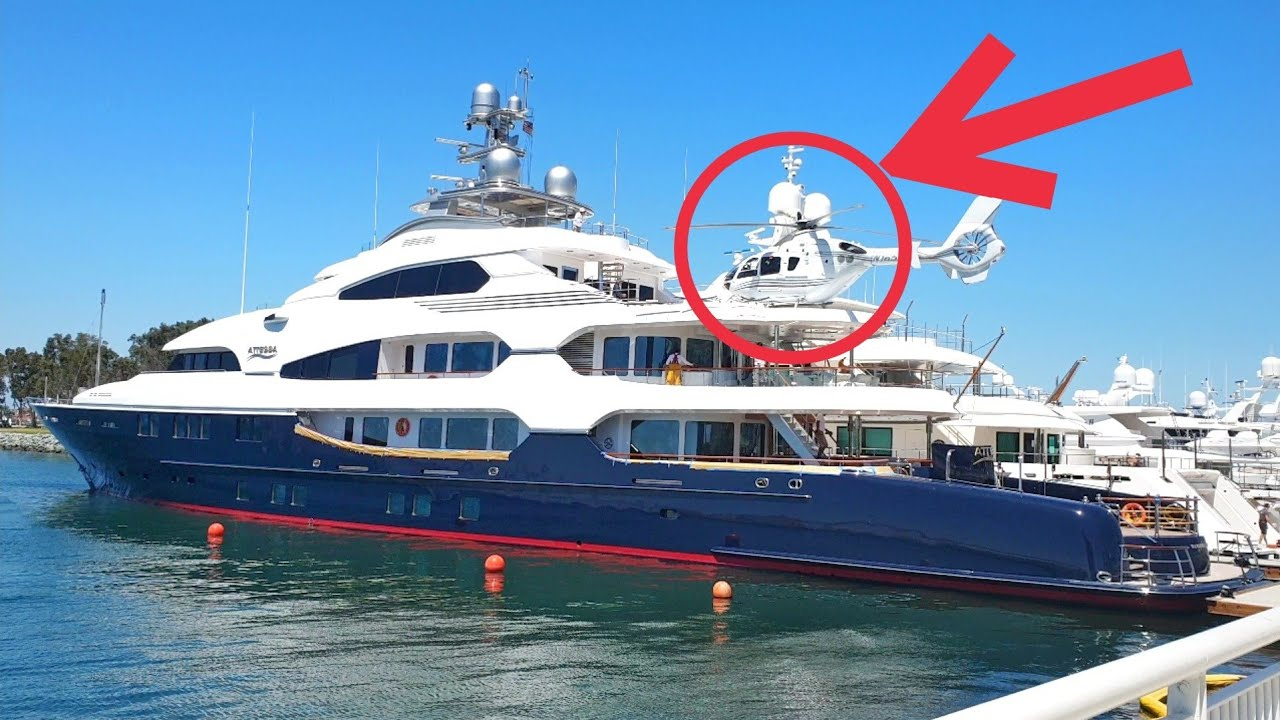Billionaire's 150,000,000 Mega Yacht Attessa IV Helicopter landing platform  San Diego