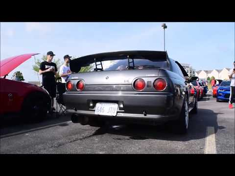 Cars and Coffee Wichita Kansas June 17, 2017. R32 Skyline GTR shoots flames