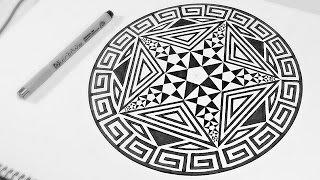 Pentagram within Pentagrams ✮ How To Draw Fractal Art | DearingDraws