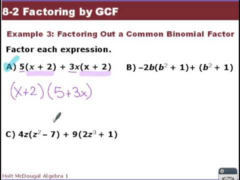 problem solving 8-2 factoring by gcf